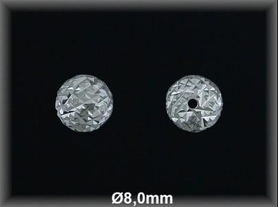 Bola plata  lisa tallada  brillo 8 mm