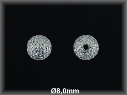 Bola plata  lisa tallada  brillo8 mm