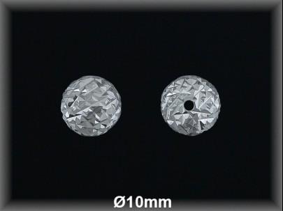 Bola plata  lisa tallada  brillo 10 mm