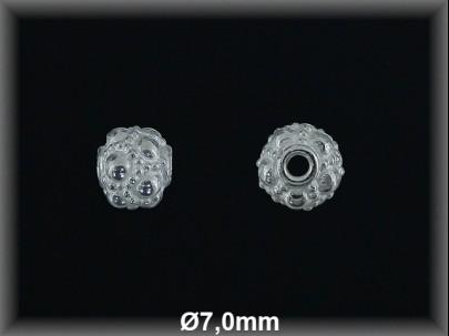 Bola plata  lisa tallada  brillo mate 7 mm