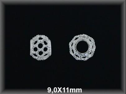 Bola plata  lisa  cal  9 X11 mm
