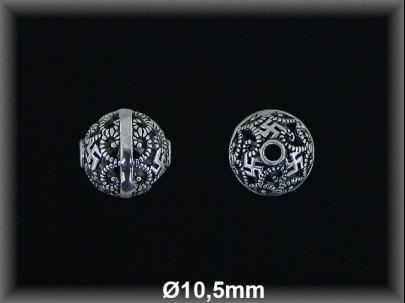 Bola plata  oxido tallada  cal  10.5 mm