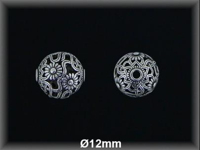 Bola plata  oxido tallada  cal  12 mm