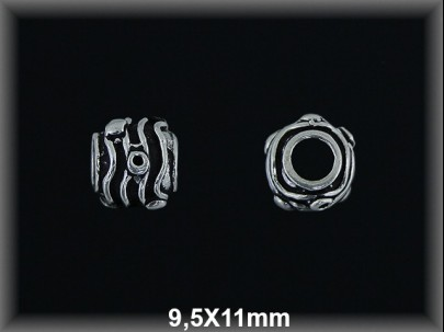 Bola plata  oxido tallada  9.5x11 mm