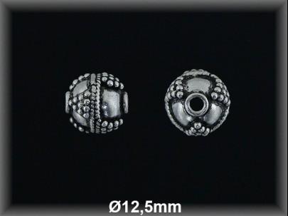 Bola plata  oxido tallada  12.8mm mm