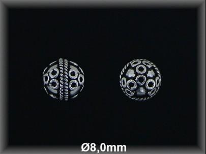 Bola plata  oxido tallada  8mm