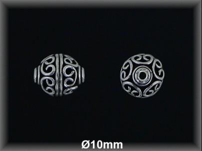 Bola plata  oxido tallada  10 mm