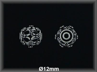 Bola plata  oxido tallada  12 mm