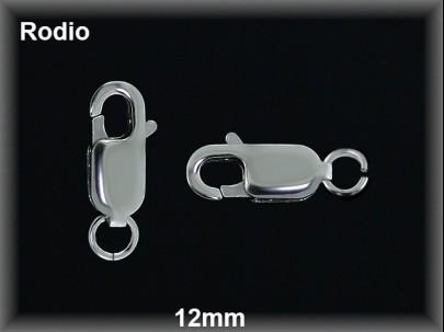 Mosqueton plata  rodio largo 12mm