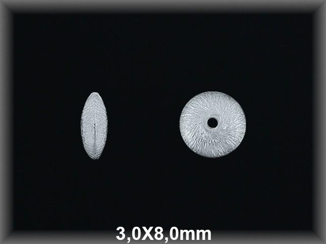 Fornitura Disco Plata 925 mate 3x8 mm ref FD034M Movegranada