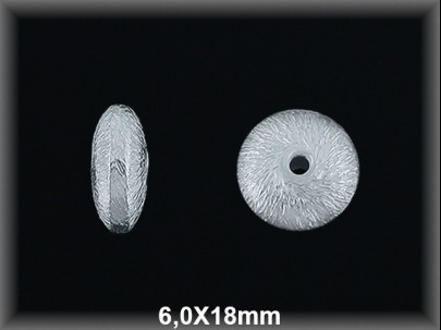 Disco plata mate, 6 x 18 mm.