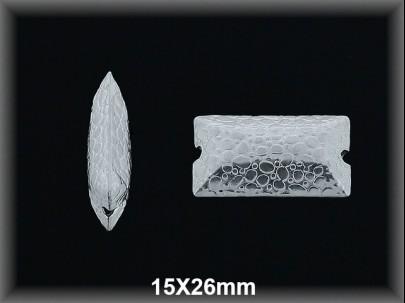 Entrepieza plata  lisa rectangulo tallado15 x 26 mm