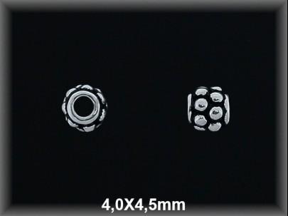 Entrepieza plata  oxido 4x4.5 mm
