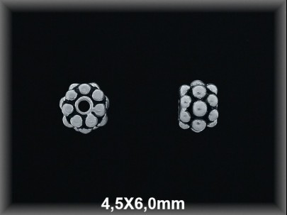 Entrepieza plata  oxido 4.5 x 6 mm