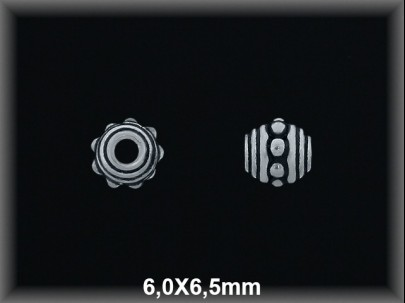Entrepieza plata  oxido 6 x 6.5 mm