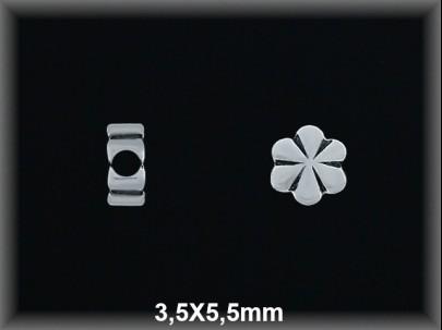 Entrepieza plata  oxido flor 3.5 x 5.5 mm