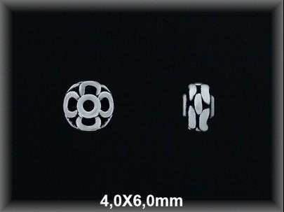 Entrepieza plata  oxido flor 4 x 6 mm