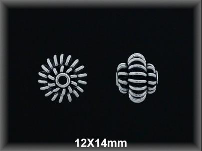 Entrepieza plata  oxido 12 x 14 mm