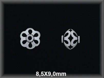 Entrepieza plata  oxido flor calada 8.5 x 9 mm