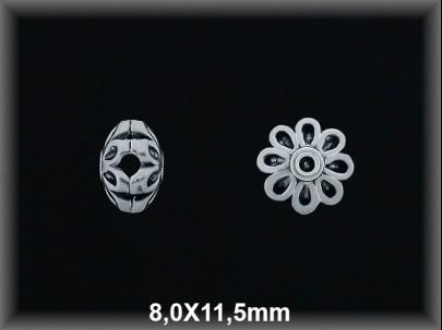 Entrepieza plata  oxido flor 8 x 11.5 mm