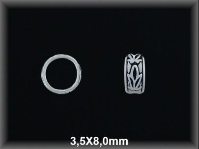 Entrepieza plata  oxido anilla tallada 35 x 8 mm