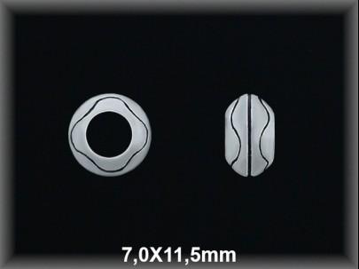 Entrepieza plata  oxido donut tallado 7 x 11.5 mm
