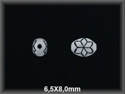 Entrepieza plata  oxido oval flor tallada 6.5 x 8 mm