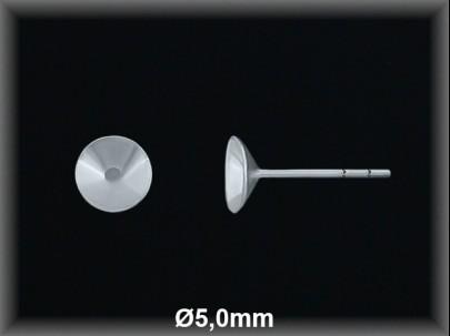 Fornitura plata  pendientes casquilla concava 5 mm
