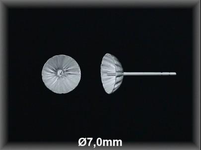 Fornitura plata  pendientes casquilla concava rayada  7mm