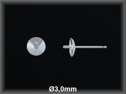 Fornitura plata  pendientes casquilla curva pincho 3 mm