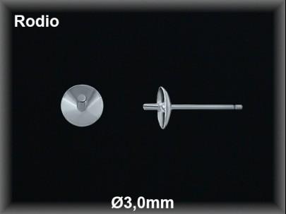 Fornitura plata  rodio pendiente casquilla curva pincho 3mm