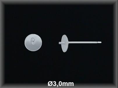 Fornitura plata  pendientes casquilla plana pincho 3 mm