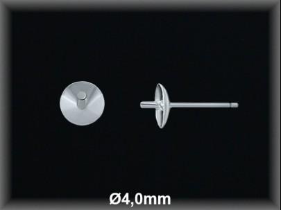 Fornitura plata  pendientes casquilla curva pincho 4mm