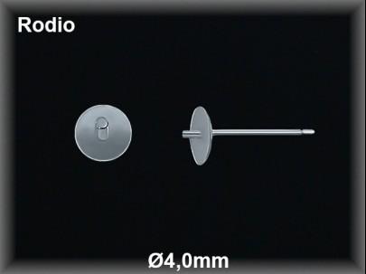 Fornitura plata  rodio pendiente casquilla plana pincho 4mm