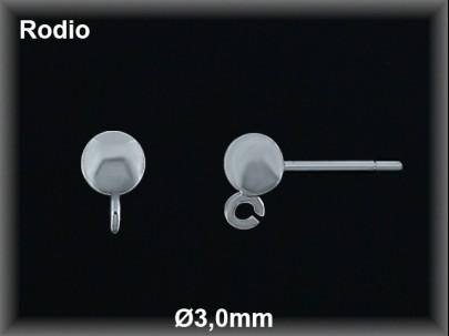 Fornitura plata  rodio pendientes bola con anilla 3 mm