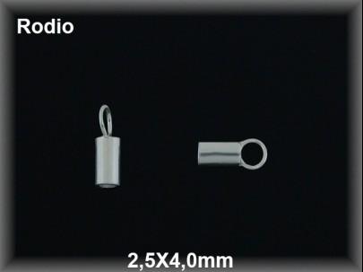 Terminal plata  rodio 2.5x4 mm interior 1.9 mm aproximado
