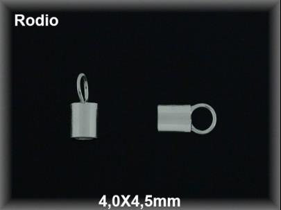Terminal plata  rodio 4 x 4.5 mm interior 3.3 mm aproximado