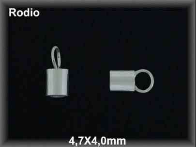 Terminal plata  rodio 4.7 x 4.0 mm interior 4 mm aproximado