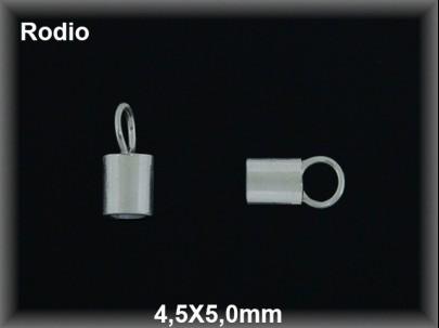 Terminal plata  rodio 45 x 5 mm interior 3.7 mm aproximado