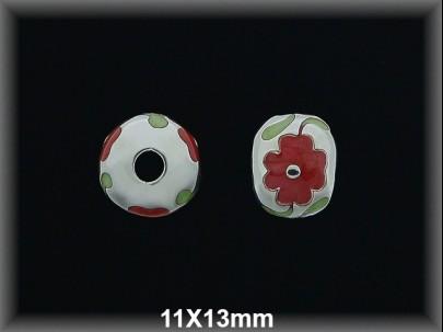 Fornitura Bola Plata 925  esmalte rojo ref FX003 Movegranada