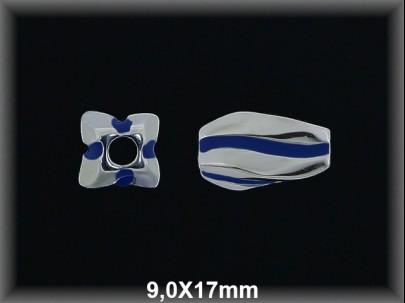 Abalorio plata  9x17 mm rayada as esmalte azul