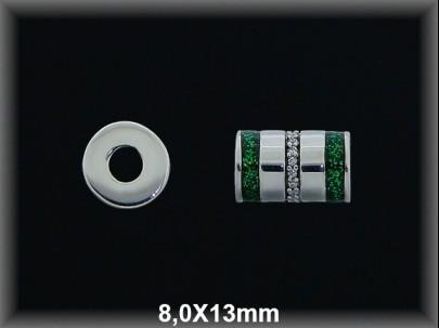 Tubo plata  8x13 mm rayada as circonitas esmalte verde