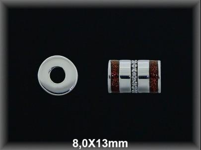 Tubo plata  8x13 mm rayada as circonitas esmalte rojo