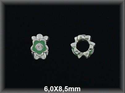 Entrepieza plata  rodio  flores esmalte verde-circonita 6x9 mm