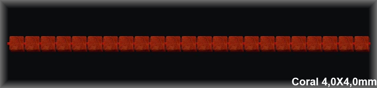 Cubos coral 4x4 mm T.R.-Hilo 100 Piezas-