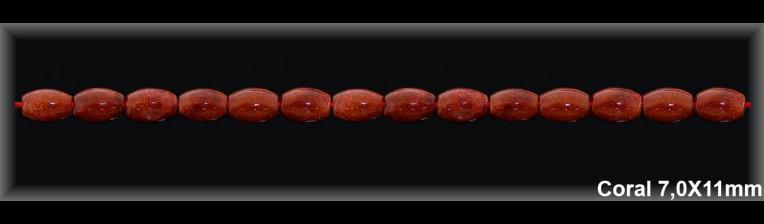 Grano Coral 7x11 MM.-1 Hilo 38 Pzas.-