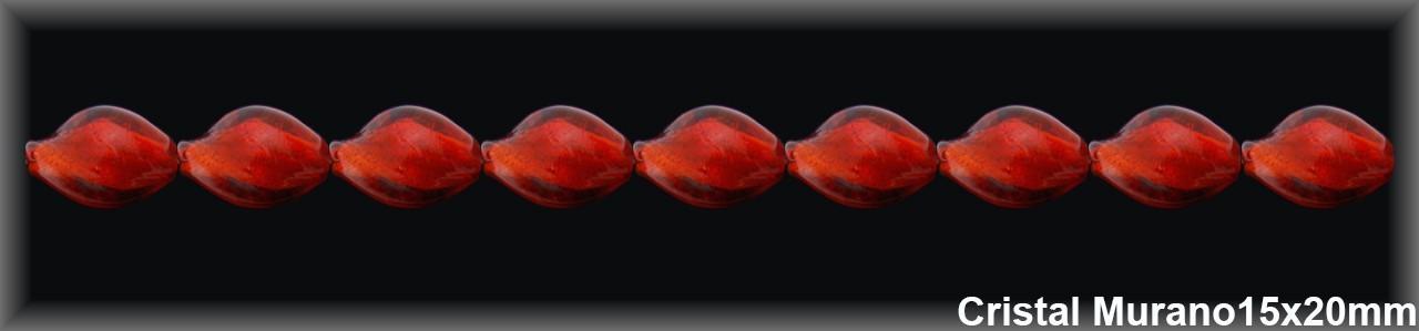 Abalorio Cristal Murano rojo 15x20 mm-1 Hilo 22 Piezas.-