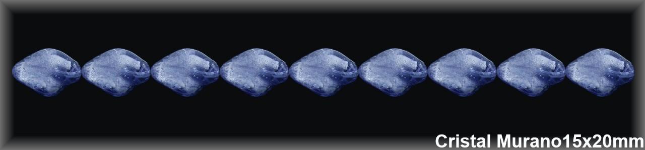Abalorio Cristal Murano azul 15x20 mm-1 Hilo 22 Piezas.-