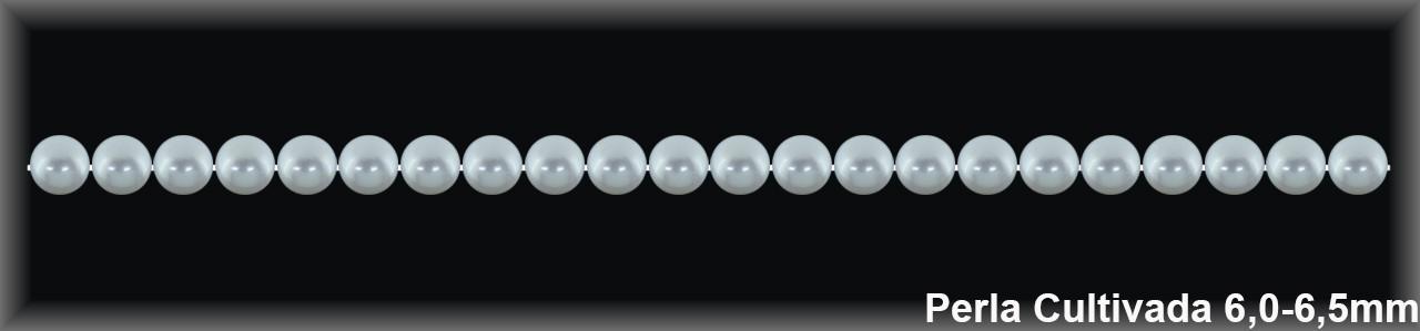 Perla  cultivada     redonda 6-6.5 MM.(cal.sup.1ª.ex.) -1 hilo 65 pzas.-