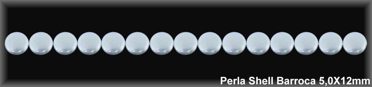 Perla Shell  barroca 5x12 mm-1 hilo 34 pzas-